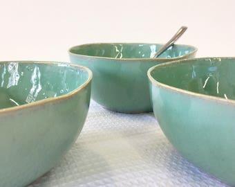 Soup bowl, Ceramic bowl, Mixing bowl, turquoise bowl, Small bowl, Serving bowl, Cereal bowl, Pottery bowl, serving dish, green bowl