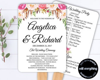 Wedding Program Fan - Floral Program Fan - Printable Program Template - DIY Wedding Program - DIY Program Fan - Floral Program Fan Template
