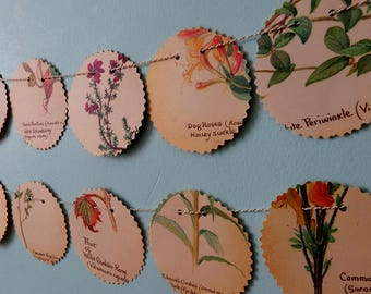 Spring Bunting,  Paper Bunting, Flower Bunting, Floral garland, recycled banner, wedding garland, wedding decor, book page bunting