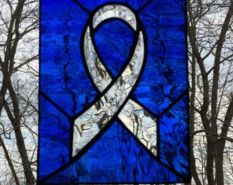 Awareness Ribbon, Stained Glass, Suncatcher