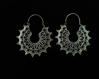 Brass mandala hoop earrings, mandala earrings, spiritual earrings, geometrical earrings, brass earrings, mandala brass earrings, hippie
