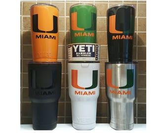YETI - University of MIAMI Hurricanes Canes Yeti Cup Mug 30 oz 20 oz Tumbler Grad Student Fan Custom Gift Idea alumni present football fan