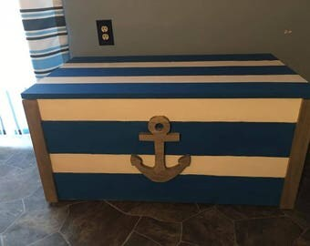 Nautical LARGE pine storage chest