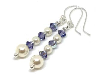 Sterling Silver Earrings, Pearls and Crystals, Purple and Cream, Gift For Her