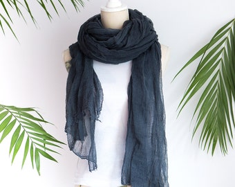 Dark Grey cotton Scarf, cheesecloth Hand dyed Cotton Gauze Hand Made Summer Scarves Gift For Her, Grey scrim, Soft cotton, Gauze cheesecloth