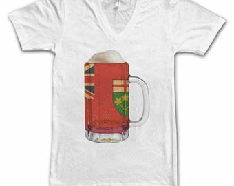 Ladies Ontario Flag Beer Mug Tee, Home Tee, City Pride, City Flag, Beer Tee, Beer T-Shirt, Beer Thinkers, Beer Lovers Tee