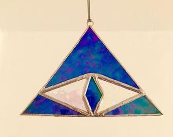 "Stained glass sun catcher ""third chakra"", blue iridescent glass, 12 x 9 cm"