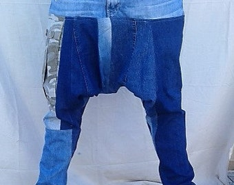 Patchwork Denim harem jeans