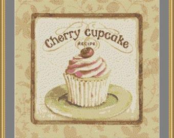 Cherry cupcake, cross stitch scheme, vintage, kitchen