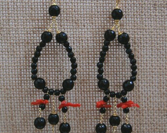 Onyx and coral earrings-Sicilian colorful earrings-Handmade