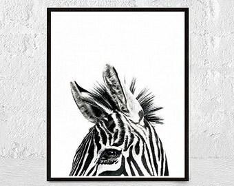 Zebra Print, Safari Nursery Wall Art, African Animal, Printable Poster, Kids Room, Modern Minimalist, Digital Download