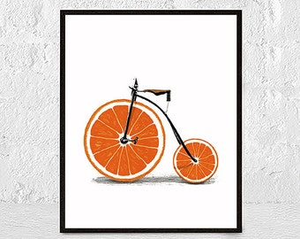 Cycling poster, Bike art print, Bicycle poster, Bike print, Bicycle Wall Art, Orange Print, Citrus Wall Art, Fruit Kitchen Decor, Bike Art