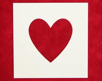 Photo Mount - 5 PACK | Heart Shape Aperture - 12x12 - 10x10 - 8X8 - 7x7 - 6x6 | Photo Frame | Photo Mounts | Picture Frame