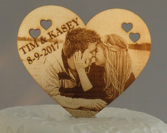 Personalized Laser engraved Wooden Wedding cake topper with photo Big Heart