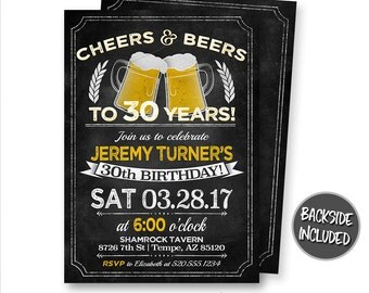 Cheers and Beers Invitation, Cheers and Beers Birthday, Beer Invitations, Party, Personalized, Birthday Party, Printables, Digital