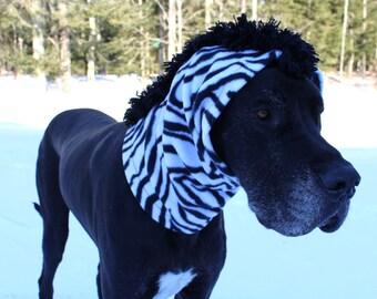 XL Great Dane Snood / Zebra Neck Warmer / Great Dane Zebra Costume / XXL Dog Snood / XL Zebra Dog Costume