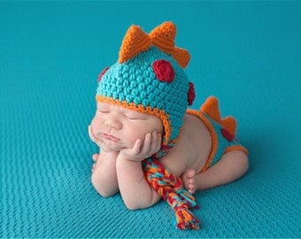 Crochet Baby Dino Outfit, Great for Newborn Photos