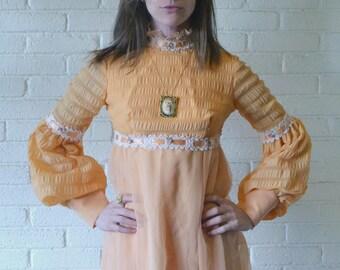 Peachy Vintage 1960s Taffeta Full Length Ribboned Dress . Bishop Sleeves . Sherbet Hue . Bridesmaid Dress . Vintage Prom Dress