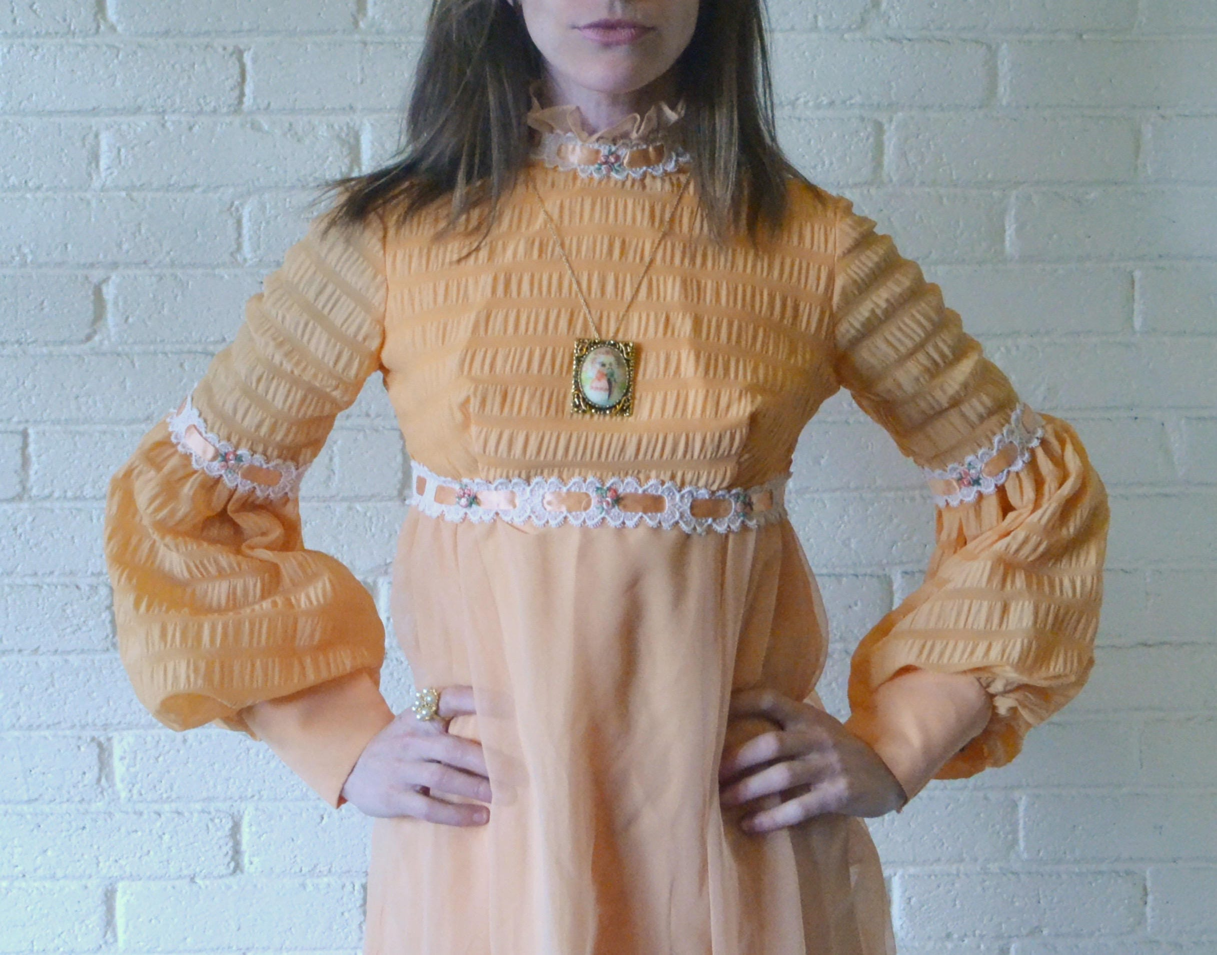 Peachy vintage 1960s taffeta full length ribboned dress zoom ombrellifo Image collections