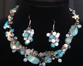 Blue Turquoise Beaded set - Includes Necklace, Bracelet & Earrings