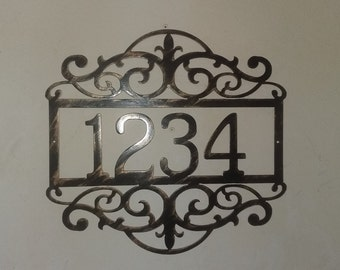 Metal House Number Sign with Scrolls