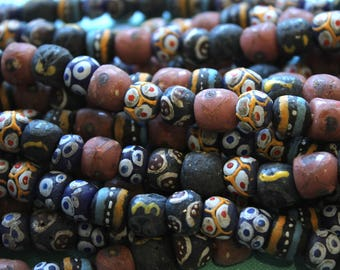 African Sandcast Multicolored Beads from Ghana, Multicolored - ASC-035