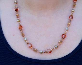 Czech Glass and Freshwater Pearls Beaded Necklace - FJ 88