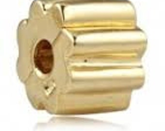 Pandora Charms Authentic 14K Yellow Gold Ribbed Bracelet Clip Charm Bead