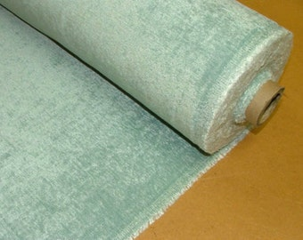 Heavyweight Plain Light Blue Chenille Curtain Fabric Velvet Upholstery - Plush Feel