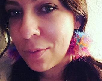 Multicolor Feather Pom-Pom Earrings