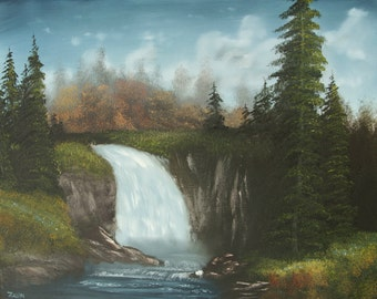 """Secluded Waterfall Forest Original Landscape Oil Painting Wall Art Decor on Canvas 16""""x20"""""""