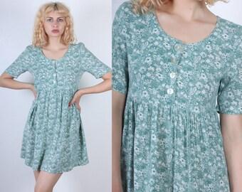 Floral Mini Dress // 90s Grunge Dress Button Up Short Sleeve - Small to Medium
