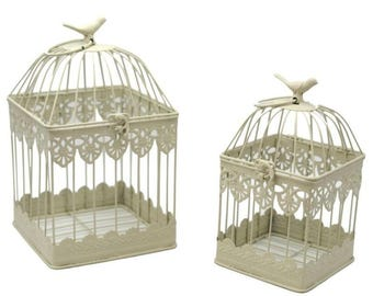 Set 2 cream colored square cages for birds