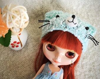 Hand Knitted Hat Blue Cat Woolen Hat For Blythe Dolls