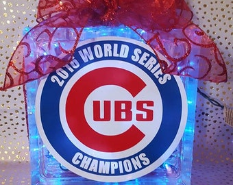 Cubs Customized Lighted Glass Blocks