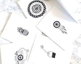 Picture Greeting cards set of 5, Black and White hand drawn greeting cards, Blank Greeting cards