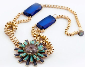 Chunky Royal Blue, Mint Green Floral Starburst Statement Bib Necklace on Gold Knotted Chain