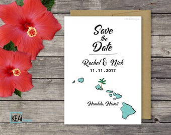 PRINTABLE Save the Date 5x7 / Hawaii Wedding Save the Date / Hawaii Destination Wedding / US State Map Save the Date / DIY Wedding- KEAi