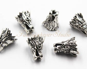 6pcs Oxidized Silver Tone Base Metal Dragon Head Beads 10mmx15mm, Silver Beads, Spacer Beads, Jewelry Findings, Beading Suppliers