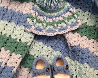 Baby blanket set, blanket, hat, booties