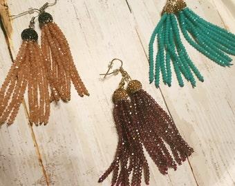 Pave earrings - Pave crystal earrings - Tassel earrings - Gift for her - Pave tassels - Pave beads - Beaded earrings - Dangle earrings