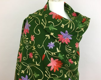 Embroidered Green Shawl, Handwoven Floral Shawl, Spring Summer Shawl, Gift For Her, Womens Shawl, Oversized Shawl, Shawls and Wraps, Blanket