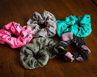 MIX 3 elastic, elastic, scrunchies, fabrics, patterns, abstract, black, pink, green, hair accessory