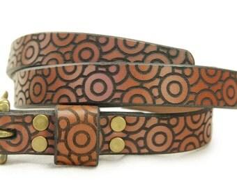 Premium Italian Leather Womens Belt - Bloom