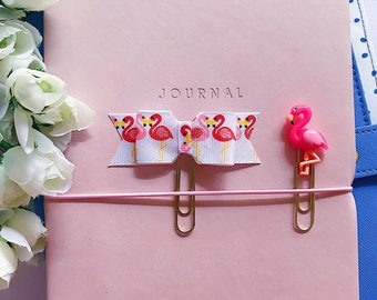 Pink Flamingo Planner Clips or Bookmarks, Planner Accessories and Decorative Paper Clips, Page Markers, Sweet Cute Animal Bird Gifts