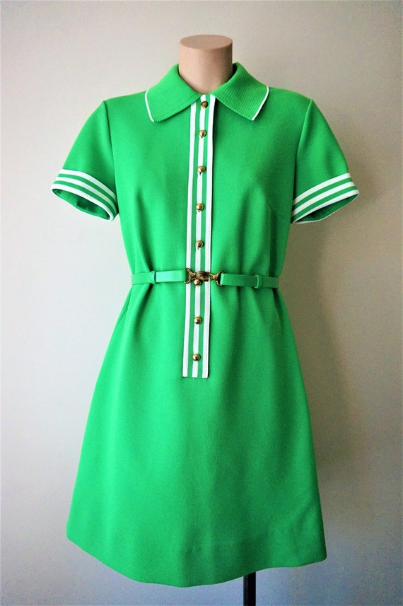 Reserved *** Fabulous 1960s Kelly Green Knit Tennis Dress