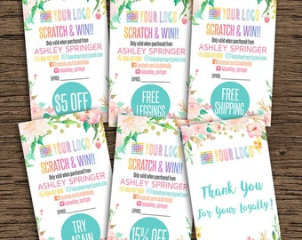 Floral Scratch Off Cards, Home Office Approved, Fashion Consultant Digital Cards, For Fashion Retailer, Customized Cards, 3,5x2 Inches