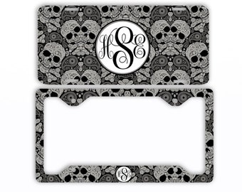 personalized monogram license plate car tag sugar skulls monogrammed tag frame personalized set car coasters - Monogram License Plate Frame