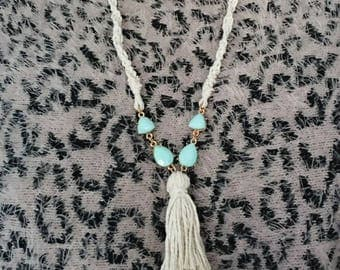 Natural twine turquoise macrame tassel necklace