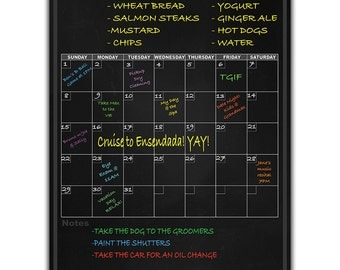 Magnetic Menu Dry Erase Calendar Blackboard Planner With Grocery And Notes List